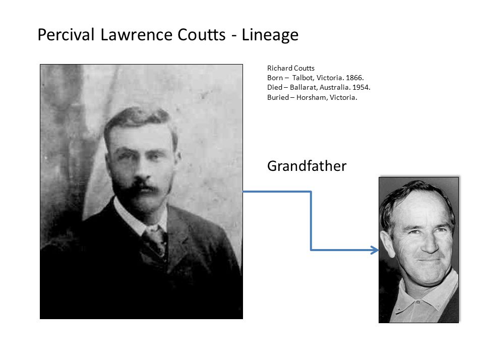 Percival Lawrence Coutts - Lineage Grandfather Richard Coutts Born – Talbot, Victoria.