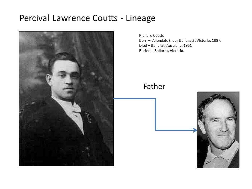 Percival Lawrence Coutts - Lineage Richard Coutts Born – Allendale (near Ballarat), Victoria.