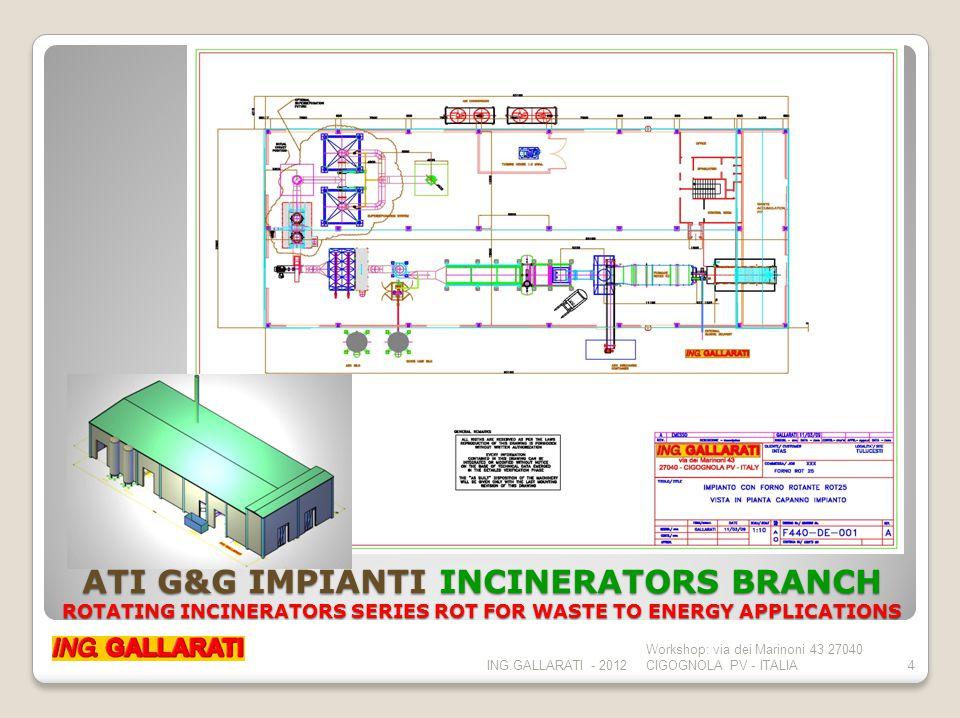 ATI G&G IMPIANTI INCINERATORS BRANCH FLUE GAS CLEANING PLANTS (NEAR TO ZERO EMISSION PLANTS) ING.GALLARATI - 2012 Workshop: via dei Marinoni 43 27040 CIGOGNOLA PV - ITALIA5 NZEP plant lay out with n.4 rotating counter current furnaces ROT150, n.4 HP boilers and n.4 steam turbines for 8 Mw el.