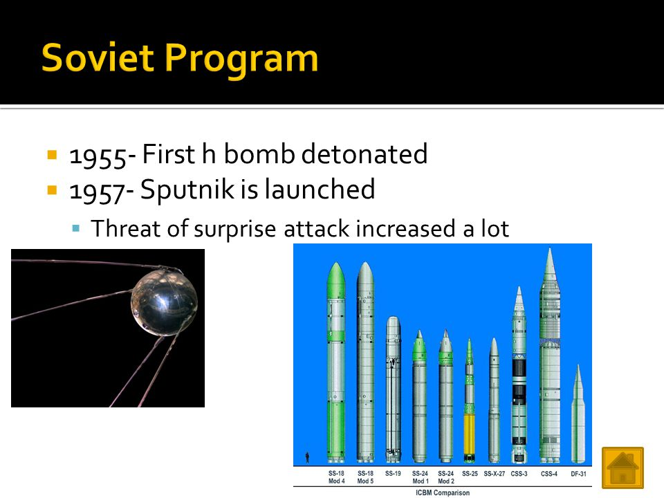 1955- First h bomb detonated  1957- Sputnik is launched  Threat of surprise attack increased a lot
