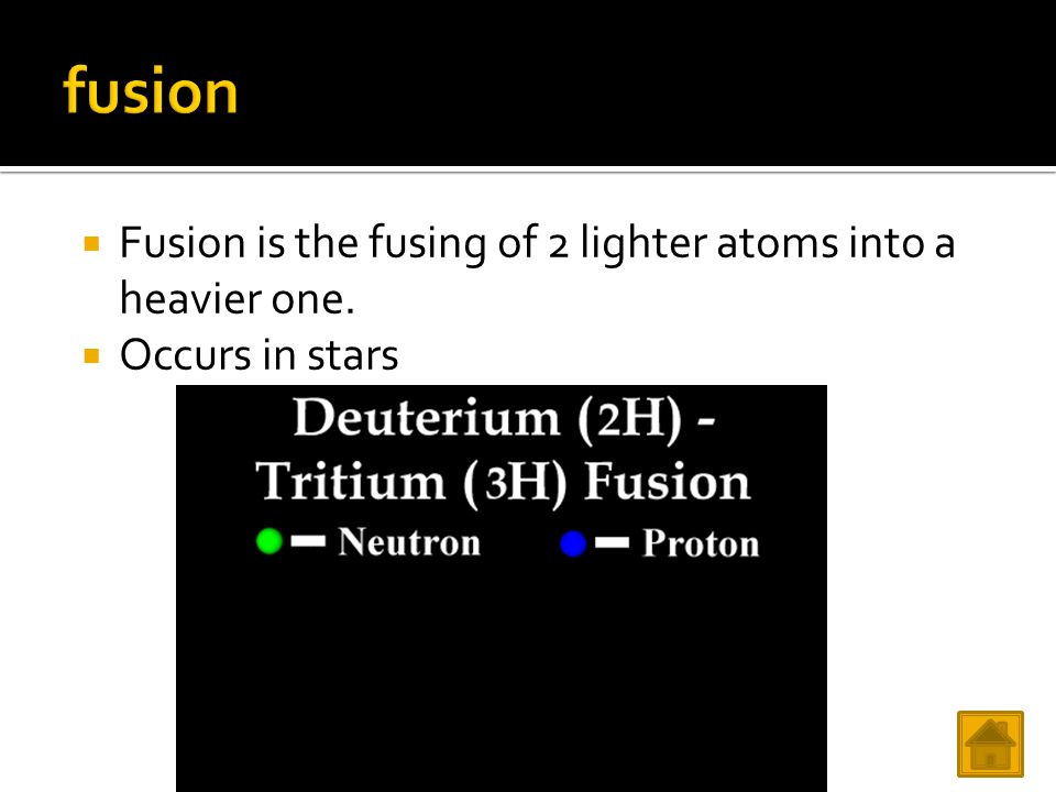 Fusion is the fusing of 2 lighter atoms into a heavier one.  Occurs in stars