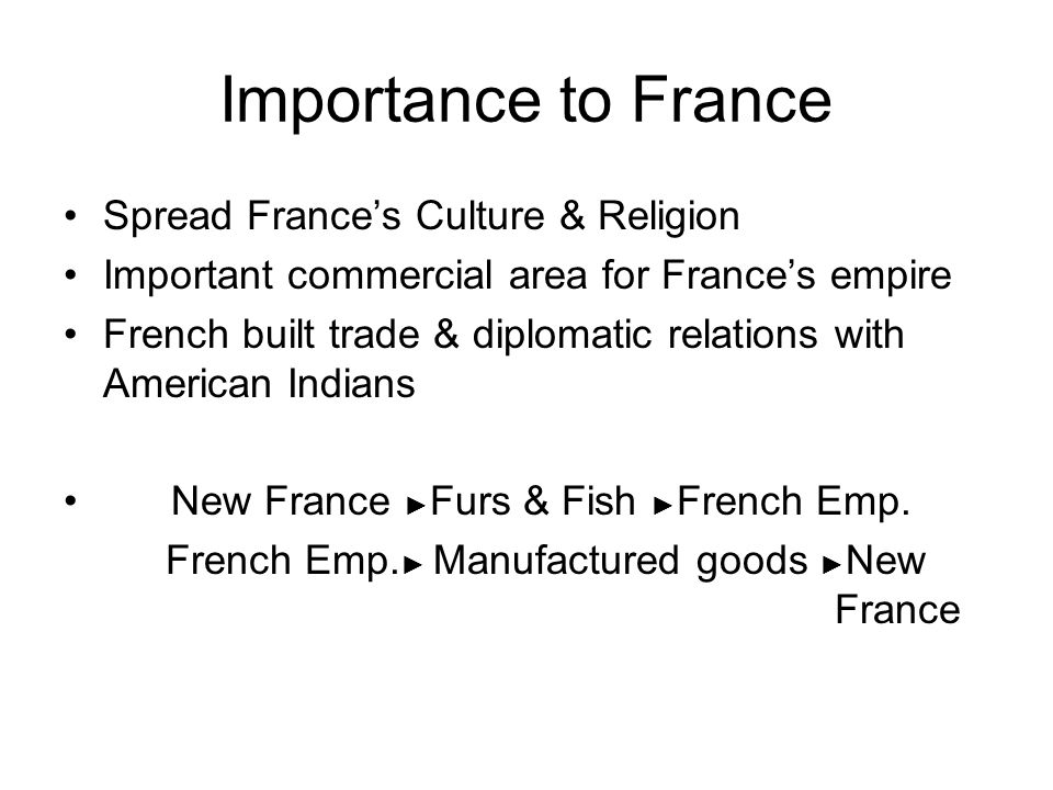Importance to France Spread France's Culture & Religion Important commercial area for France's empire French built trade & diplomatic relations with American Indians New France ► Furs & Fish ► French Emp.