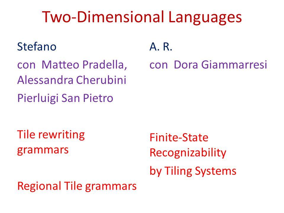 Two-Dimensional Languages Stefano con Matteo Pradella, Alessandra Cherubini Pierluigi San Pietro Tile rewriting grammars Regional Tile grammars A. R.