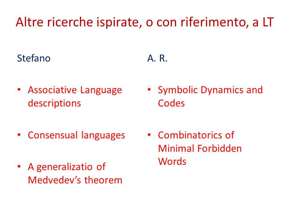 Altre ricerche ispirate, o con riferimento, a LT Stefano Associative Language descriptions Consensual languages A generalizatio of Medvedev's theorem