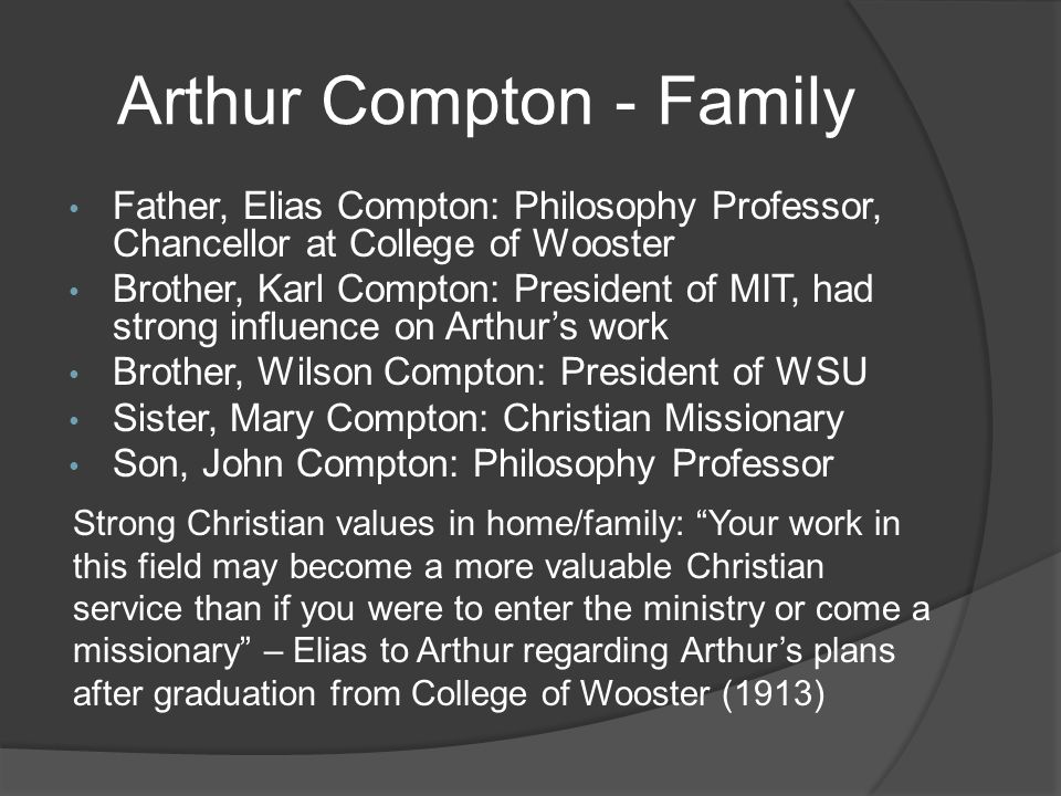 Arthur Compton - Family Father, Elias Compton: Philosophy Professor, Chancellor at College of Wooster Brother, Karl Compton: President of MIT, had strong influence on Arthur's work Brother, Wilson Compton: President of WSU Sister, Mary Compton: Christian Missionary Son, John Compton: Philosophy Professor Strong Christian values in home/family: Your work in this field may become a more valuable Christian service than if you were to enter the ministry or come a missionary – Elias to Arthur regarding Arthur's plans after graduation from College of Wooster (1913)
