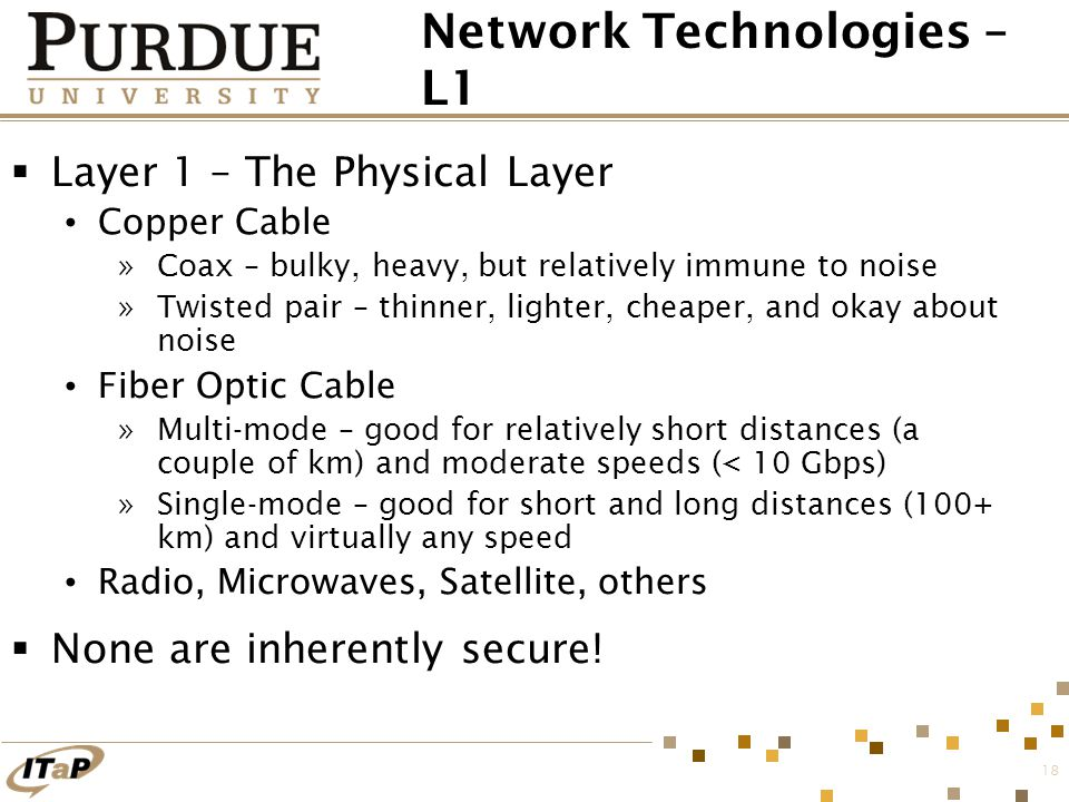 18 Network Technologies – L1  Layer 1 – The Physical Layer Copper Cable »Coax – bulky, heavy, but relatively immune to noise »Twisted pair – thinner,