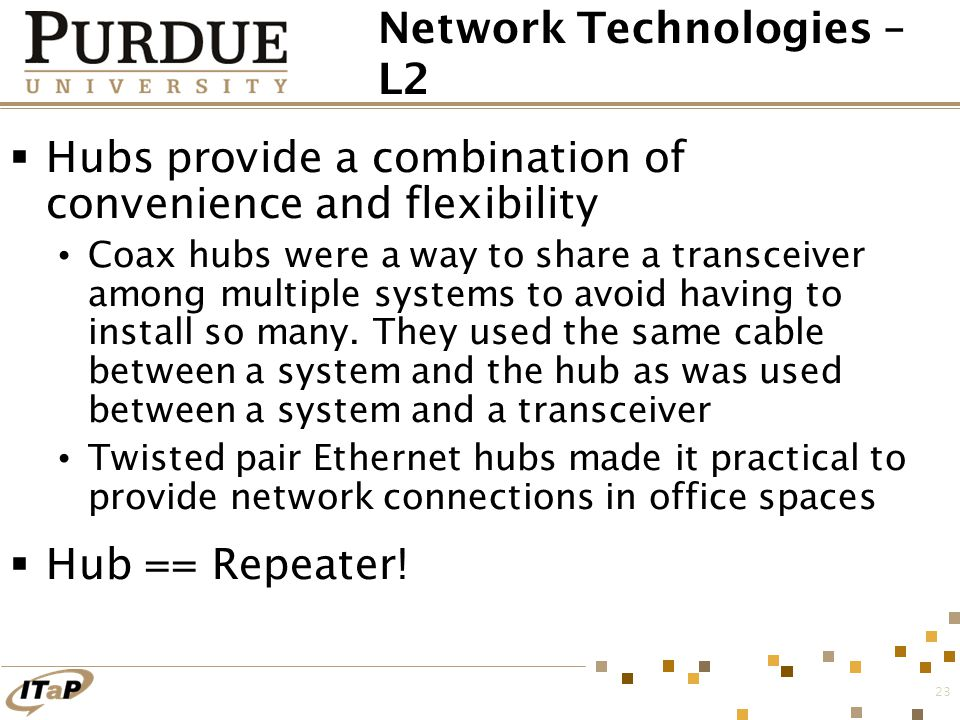 23 Network Technologies – L2  Hubs provide a combination of convenience and flexibility Coax hubs were a way to share a transceiver among multiple sy