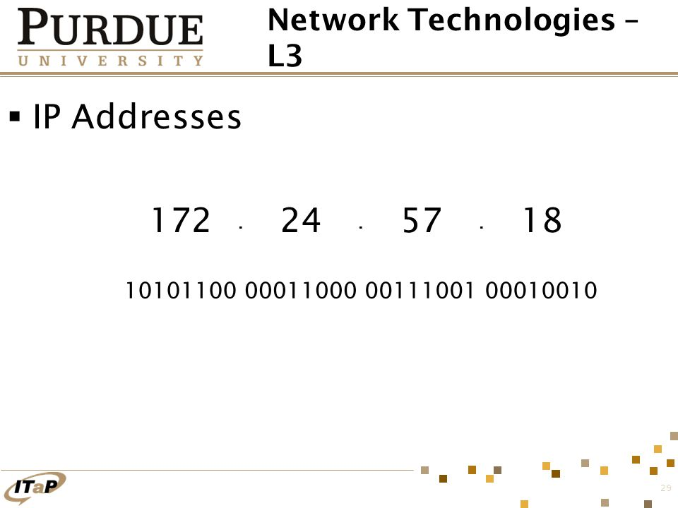 29  IP Addresses Network Technologies – L3... 172 10101100 24 00011000 57 00111001 18 00010010