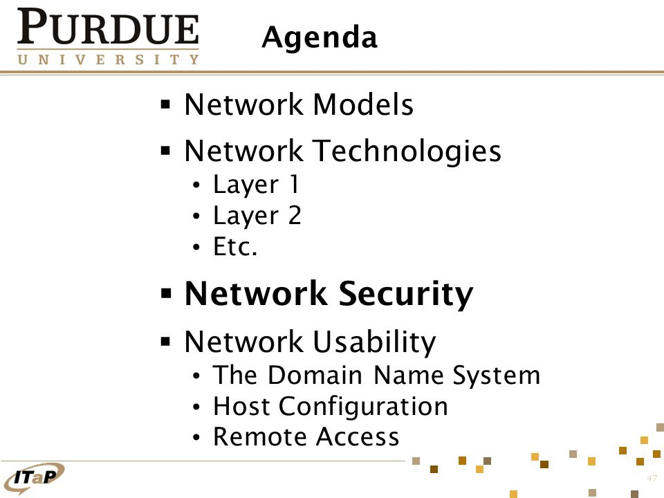 47 Agenda  Network Models  Network Technologies Layer 1 Layer 2 Etc.  Network Security  Network Usability The Domain Name System Host Configuratio