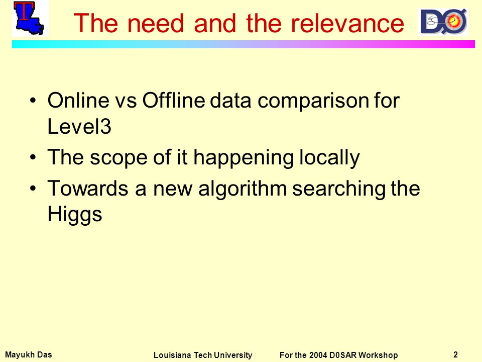Mayukh Das 13Louisiana Tech University For the 2004 D0SAR Workshop Pointers for the new algorithm The tagging of the b-quarks efficiently is the key.
