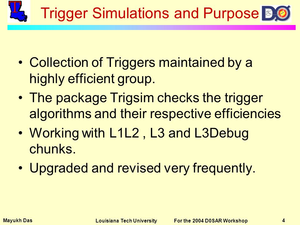 Mayukh Das 4Louisiana Tech University For the 2004 D0SAR Workshop Trigger Simulations and Purpose Collection of Triggers maintained by a highly efficient group.