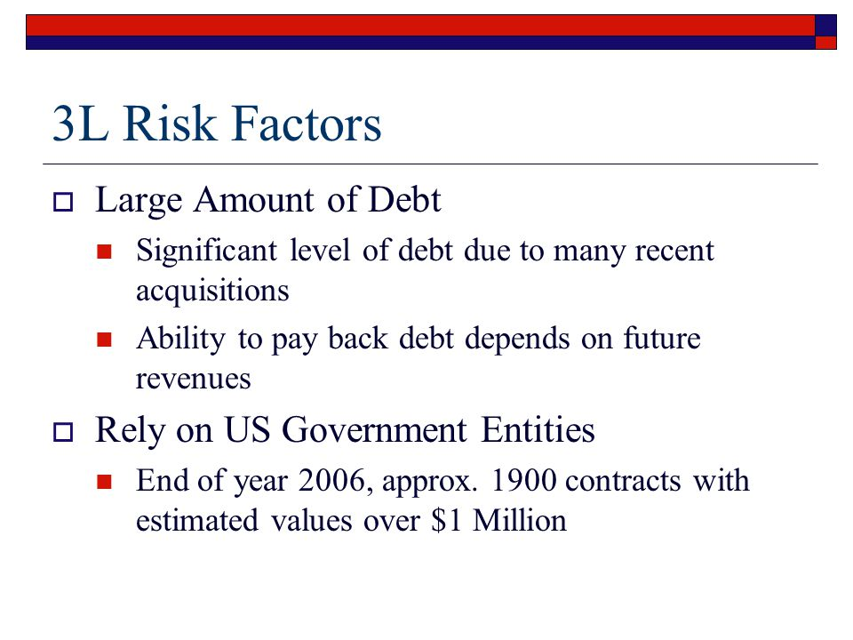 3L Risk Factors  Large Amount of Debt Significant level of debt due to many recent acquisitions Ability to pay back debt depends on future revenues  Rely on US Government Entities End of year 2006, approx.