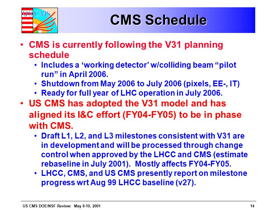 US CMS DOE/NSF Review: May 8-10, 200114 CMS Schedule CMS Schedule CMS is currently following the V31 planning schedule Includes a 'working detector' w/colliding beam pilot run in April 2006.