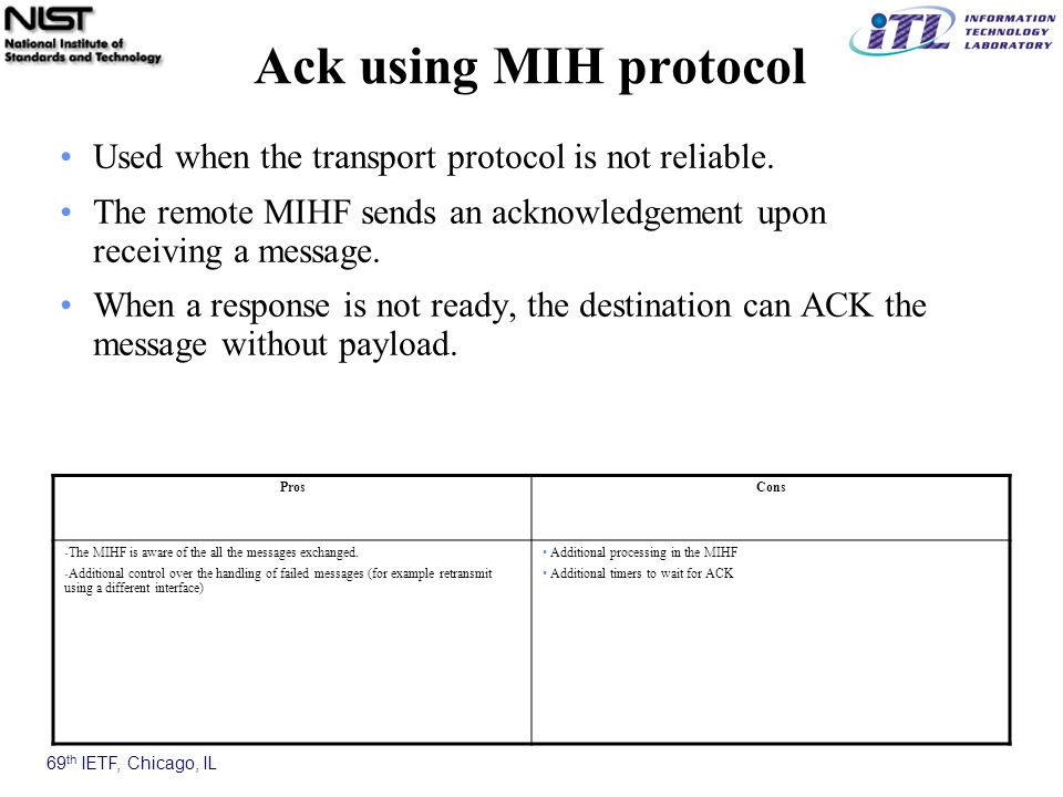 69 th IETF, Chicago, IL Ack using MIH protocol Used when the transport protocol is not reliable.