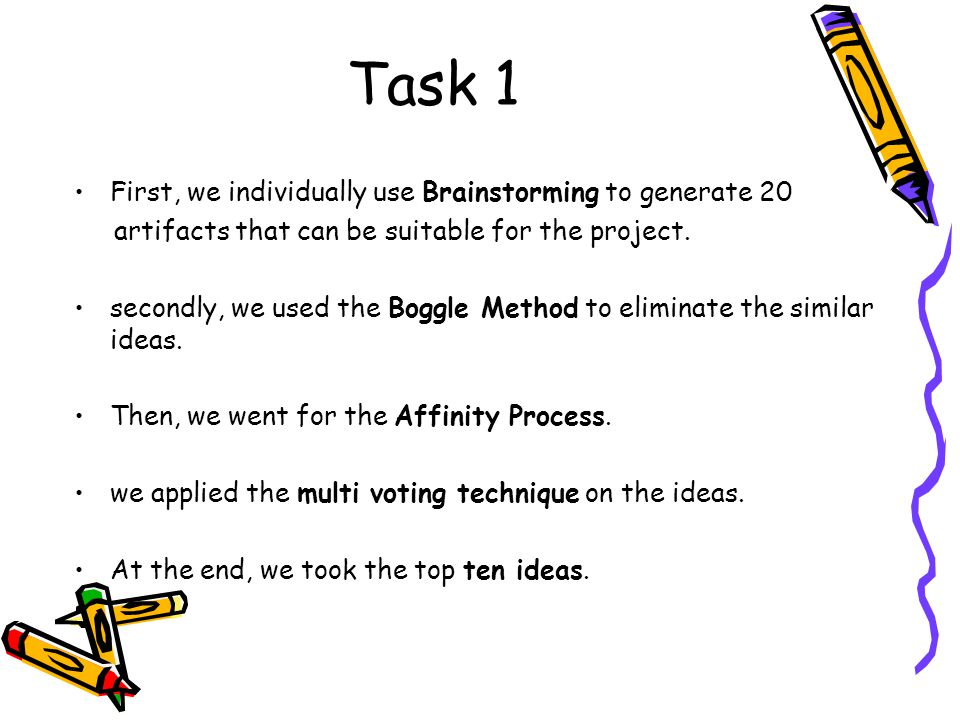 Task 1 First, we individually use Brainstorming to generate 20 artifacts that can be suitable for the project. secondly, we used the Boggle Method to