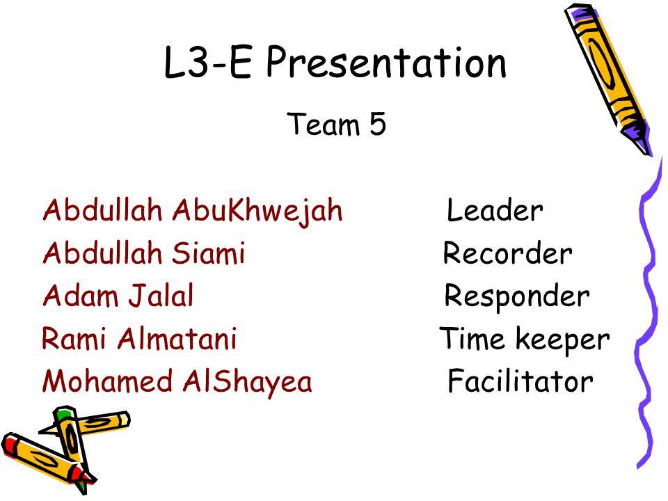 L3-E Presentation Team 5 Abdullah AbuKhwejah Leader Abdullah Siami Recorder Adam Jalal Responder Rami Almatani Time keeper Mohamed AlShayea Facilitator