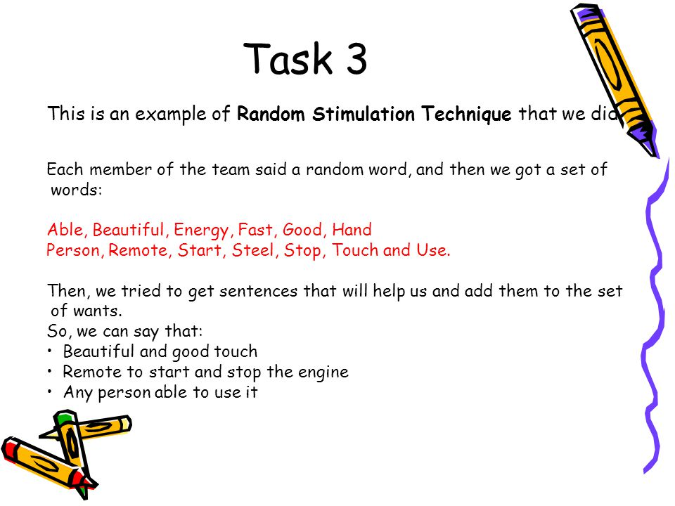 Task 3 This is an example of Random Stimulation Technique that we did.