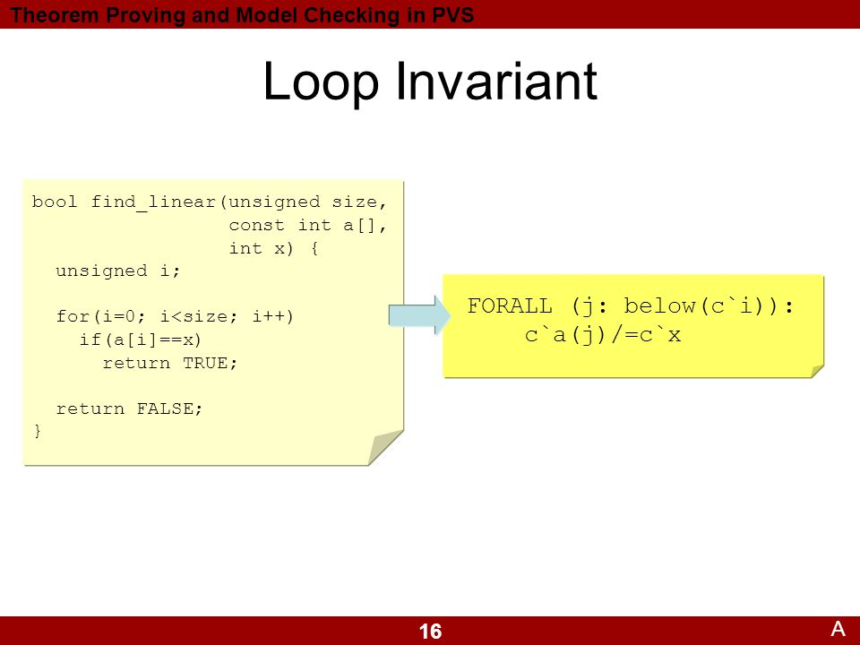 16 Theorem Proving and Model Checking in PVS FORALL (j: below(c`i)): c`a(j)/=c`x Loop Invariant bool find_linear(unsigned size, const int a[], int x) { unsigned i; for(i=0; i<size; i++) if(a[i]==x) return TRUE; return FALSE; } A