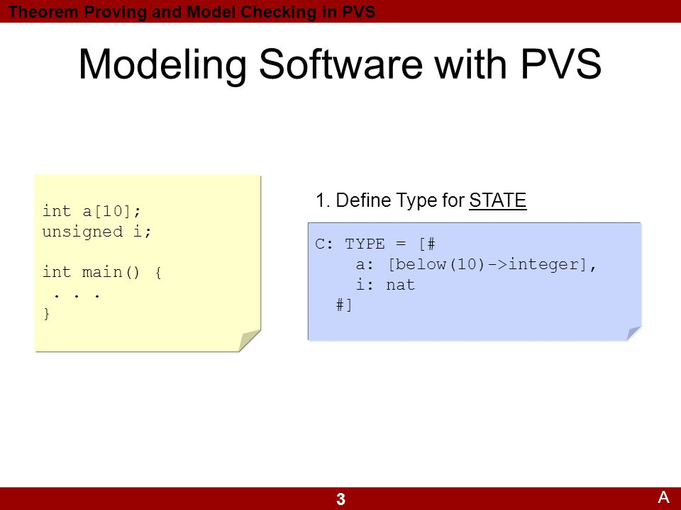 3 Theorem Proving and Model Checking in PVS Modeling Software with PVS C: TYPE = [# a: [below(10)->integer], i: nat #] 1.