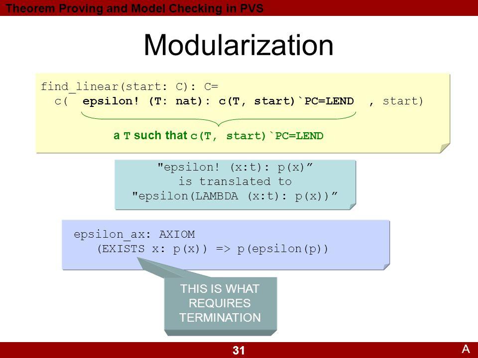 31 Theorem Proving and Model Checking in PVS Modularization A epsilon_ax: AXIOM (EXISTS x: p(x)) => p(epsilon(p)) find_linear(start: C): C= c( epsilon.