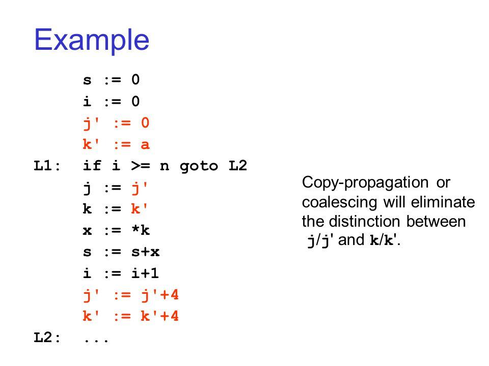 Example s := 0 i := 0 j := 0 k := a L1:if i >= n goto L2 j := j k := k x := *k s := s+x i := i+1 j := j +4 k := k +4 L2:...
