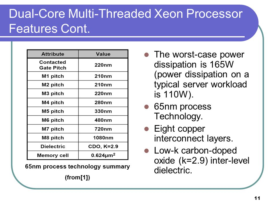 11 Dual-Core Multi-Threaded Xeon Processor Features Cont.