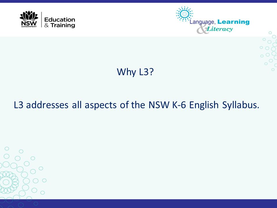 Why L3? L3 addresses all aspects of the NSW K-6 English Syllabus.