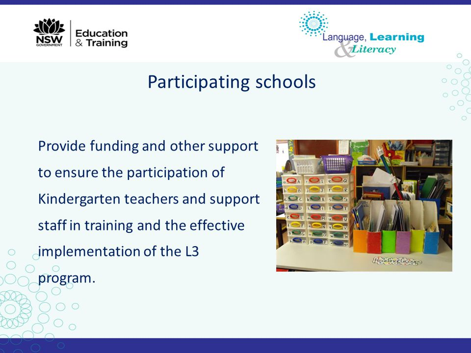 Participating schools Provide funding and other support to ensure the participation of Kindergarten teachers and support staff in training and the eff
