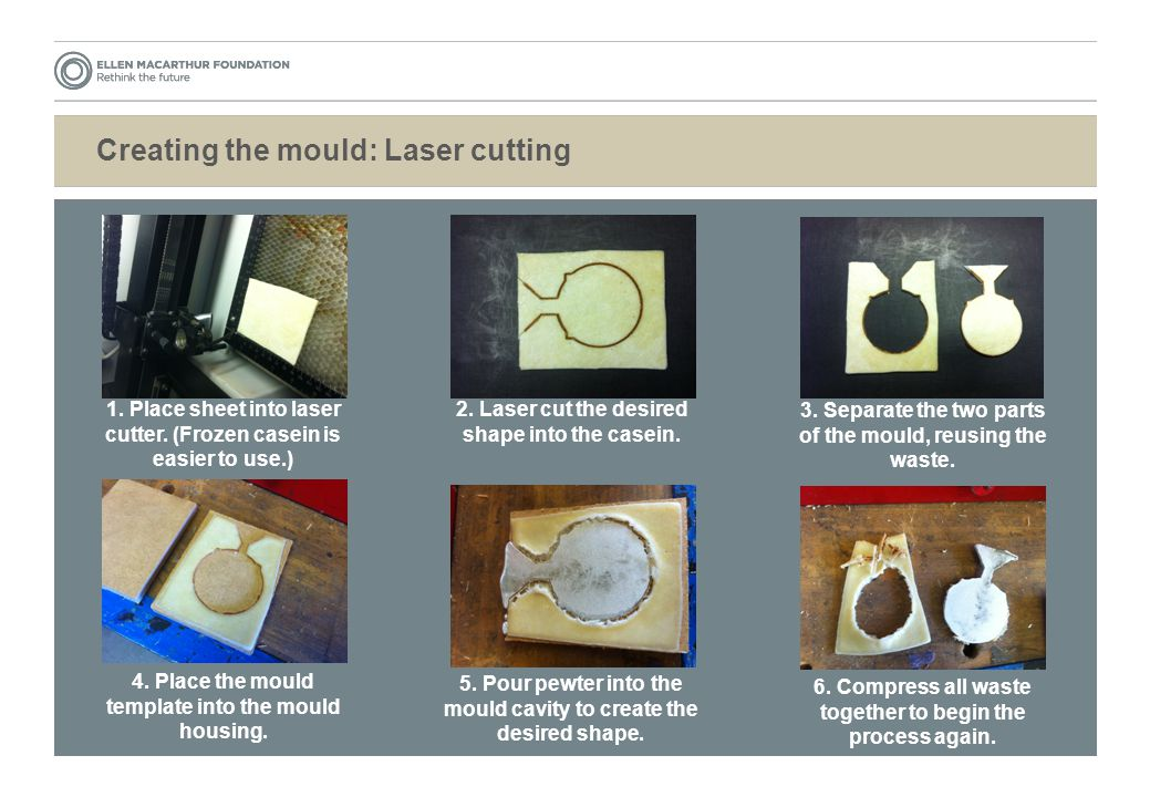 Creating the mould: Laser cutting 1. Place sheet into laser cutter.