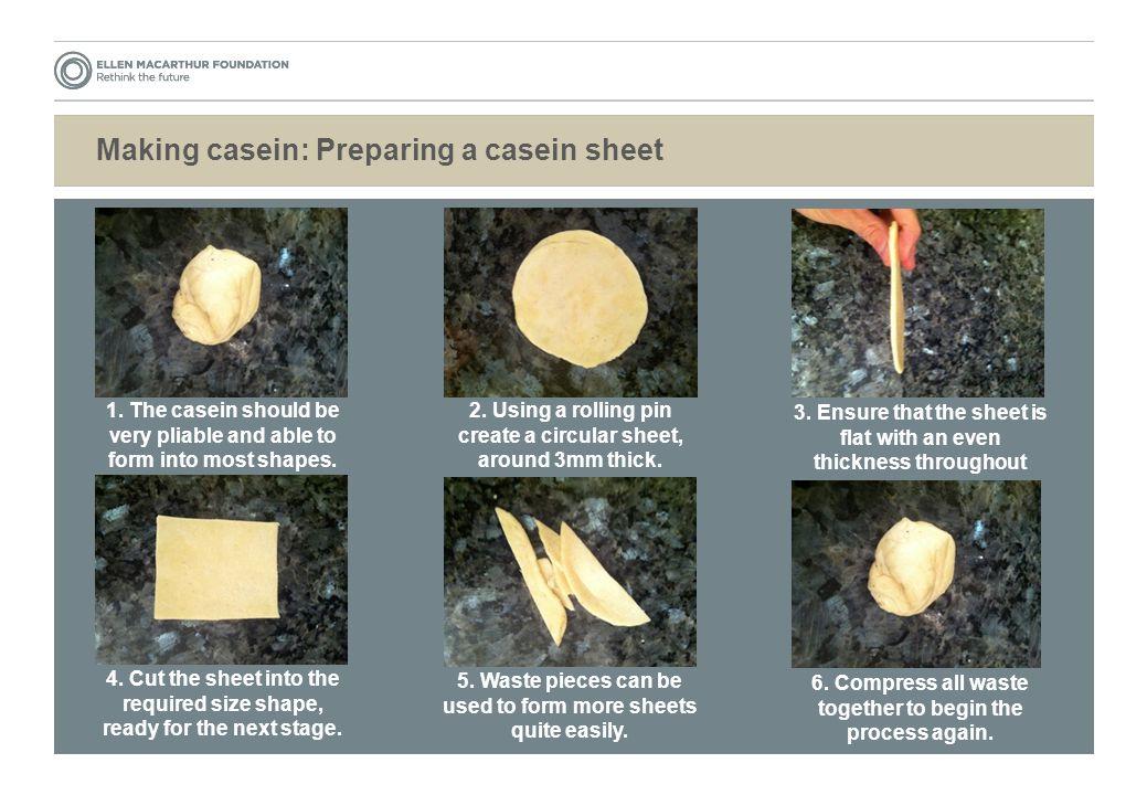 Making casein: Preparing a casein sheet 1.