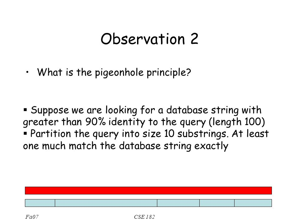 Fa07CSE 182 Observation 2 What is the pigeonhole principle?  Suppose we are looking for a database string with greater than 90% identity to the query