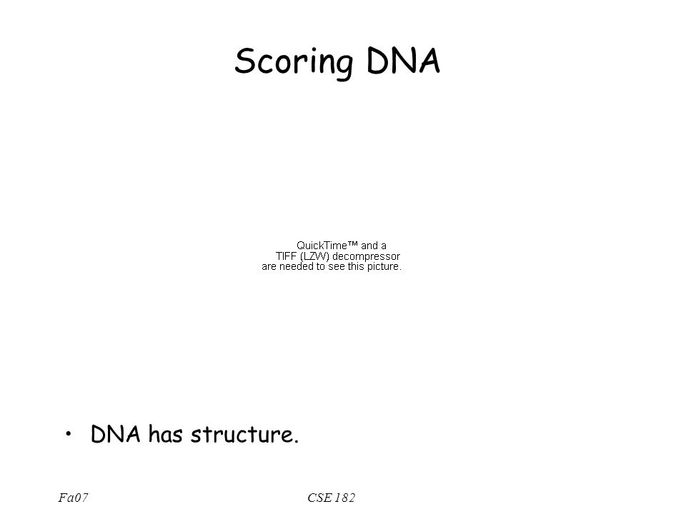Fa07CSE 182 Scoring DNA DNA has structure.