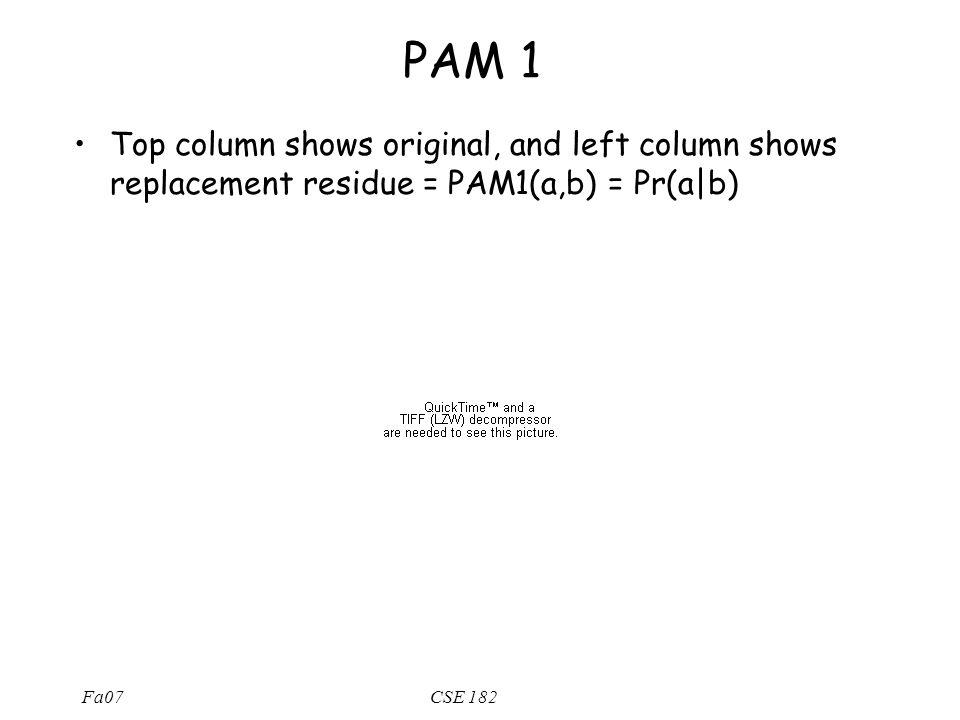 Fa07CSE 182 PAM 1 Top column shows original, and left column shows replacement residue = PAM1(a,b) = Pr(a b)