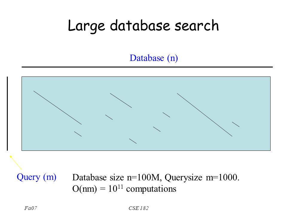 Fa07CSE 182 Large database search Query (m) Database (n) Database size n=100M, Querysize m=1000. O(nm) = 10 11 computations