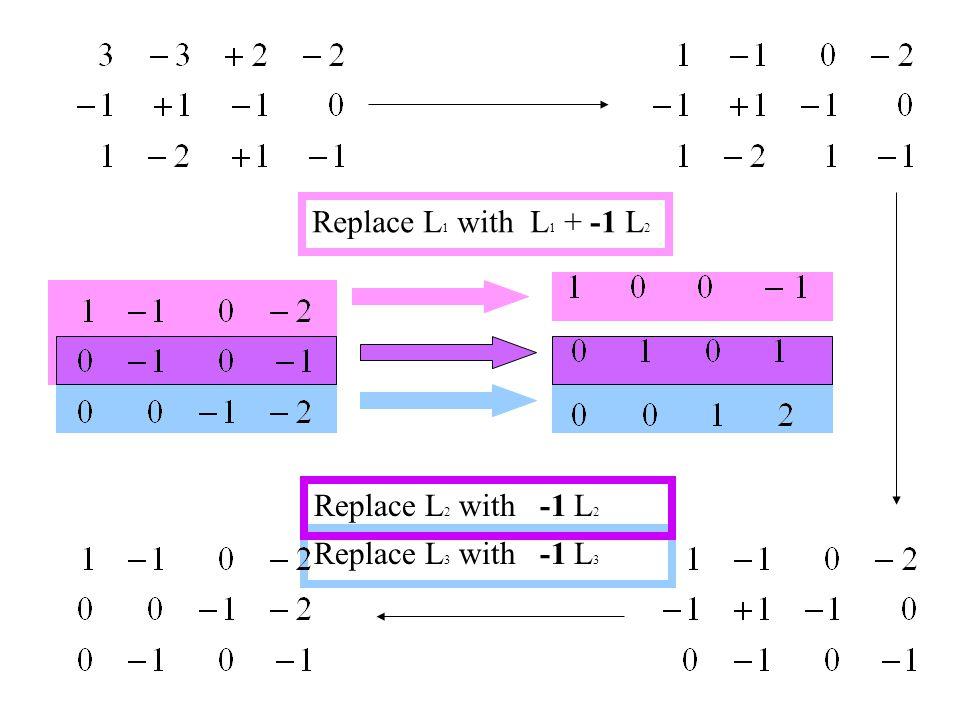 Replace L 1 with L 1 + -1 L 2 Replace L 3 with -1 L 3 Replace L 2 with -1 L 2