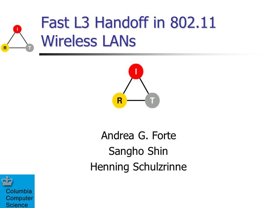 Fast L3 Handoff in 802.11 Wireless LANs Andrea G. Forte Sangho Shin Henning Schulzrinne