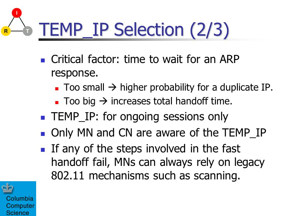 TEMP_IP Selection (2/3) Critical factor: time to wait for an ARP response.