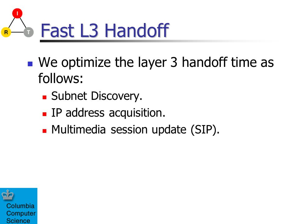 Fast L3 Handoff We optimize the layer 3 handoff time as follows: Subnet Discovery.