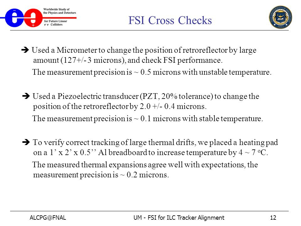 ALCPG@FNALUM - FSI for ILC Tracker Alignment12 FSI Cross Checks  Used a Micrometer to change the position of retroreflector by large amount (127+/- 3 microns), and check FSI performance.