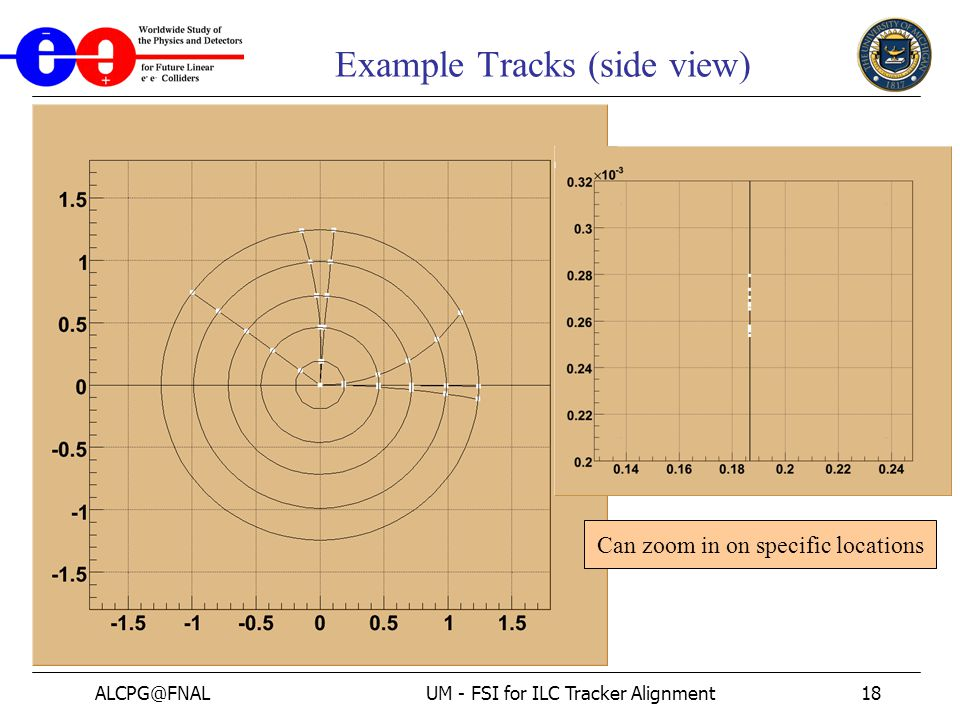 ALCPG@FNALUM - FSI for ILC Tracker Alignment18 Example Tracks (side view) Can zoom in on specific locations