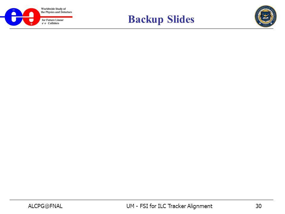 ALCPG@FNALUM - FSI for ILC Tracker Alignment30 Backup Slides