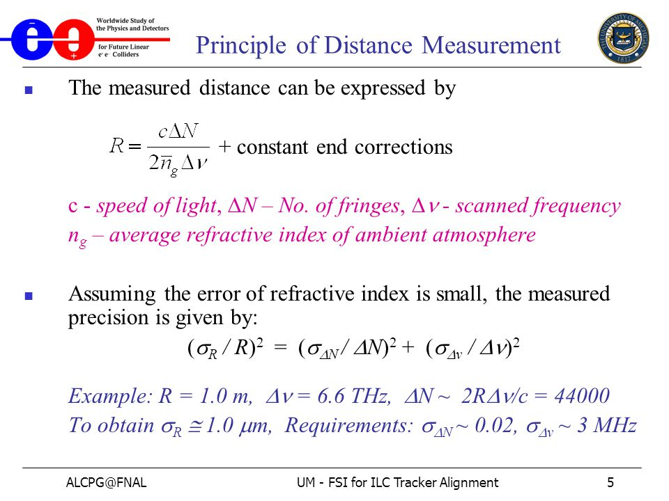 ALCPG@FNALUM - FSI for ILC Tracker Alignment5 Principle of Distance Measurement The measured distance can be expressed by + constant end corrections c - speed of light,  N – No.