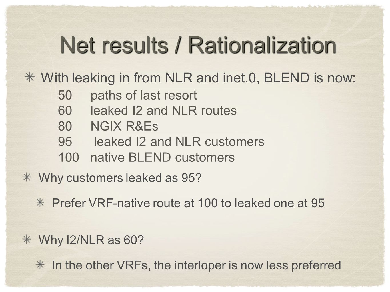 Net results / Rationalization Why customers leaked as 95? Prefer VRF-native route at 100 to leaked one at 95 Why I2/NLR as 60? In the other VRFs, the