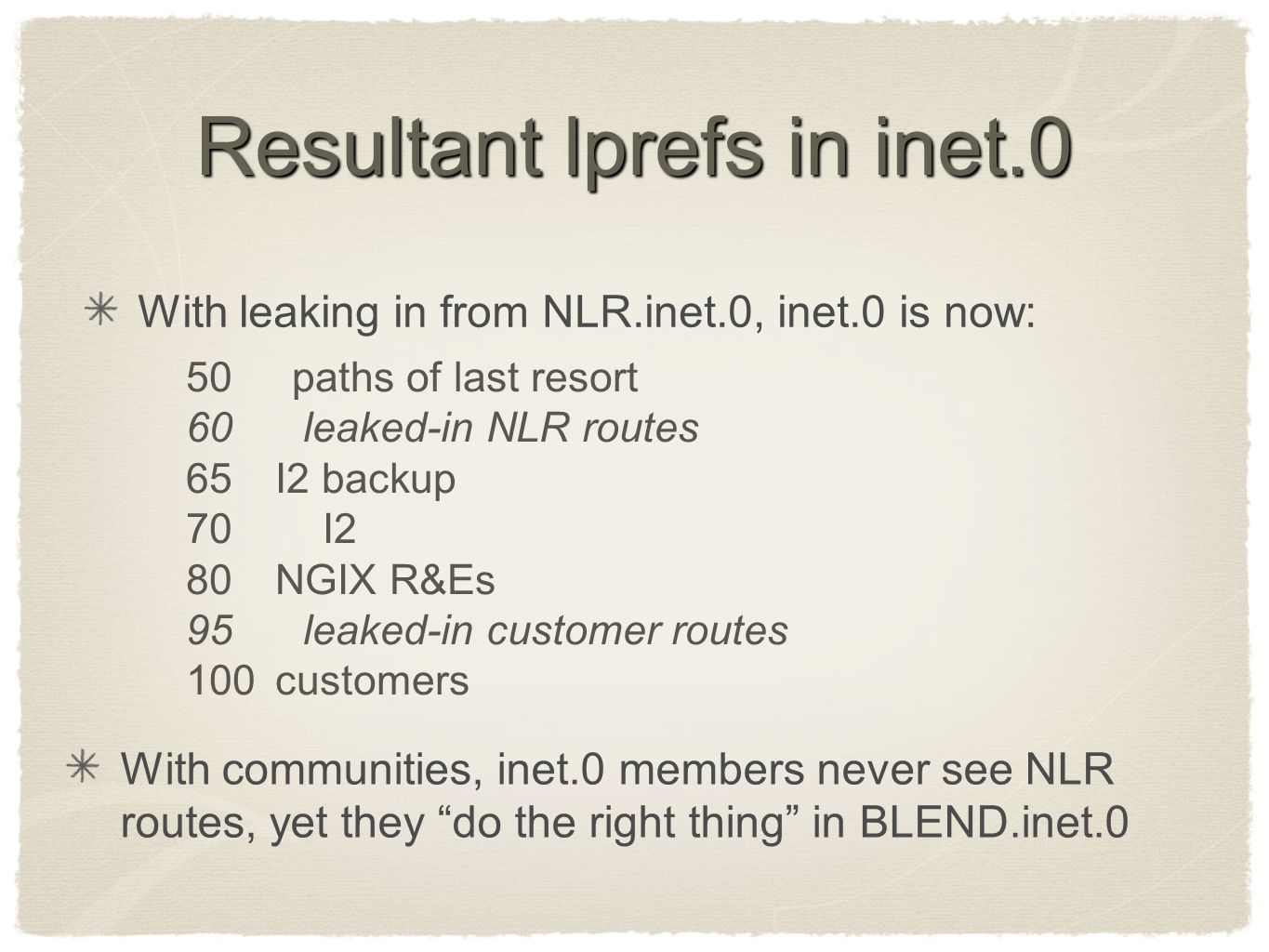 Resultant lprefs in inet.0 With leaking in from NLR.inet.0, inet.0 is now: 50 paths of last resort 60 leaked-in NLR routes 65 I2 backup 70 I2 80NGIX R