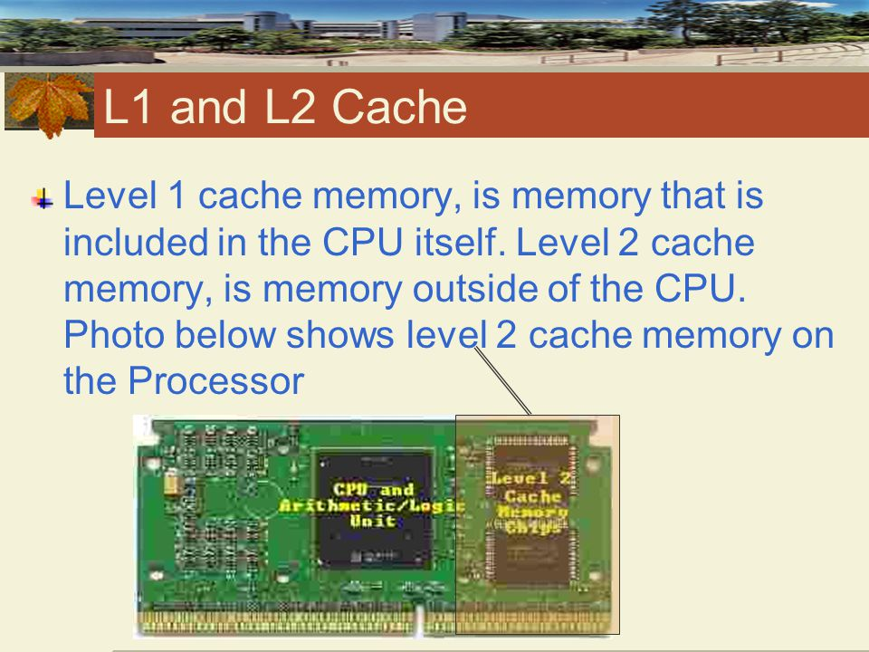 L1 and L2 Cache Level 1 cache memory, is memory that is included in the CPU itself.