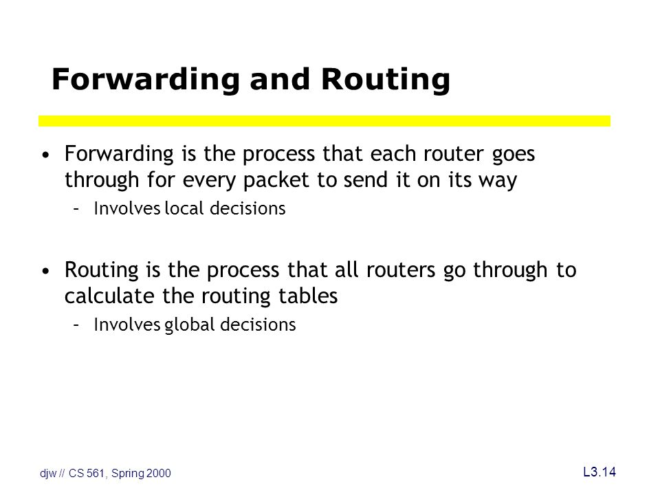 djw // CS 561, Spring 2000 L3.14 Forwarding and Routing Forwarding is the process that each router goes through for every packet to send it on its way –Involves local decisions Routing is the process that all routers go through to calculate the routing tables –Involves global decisions