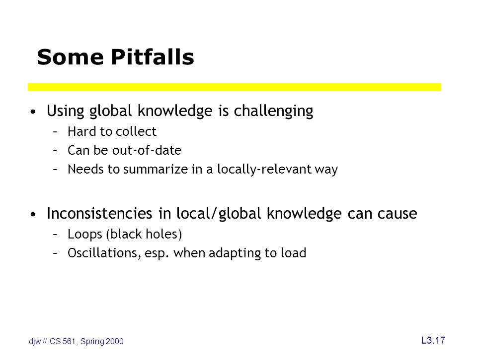 djw // CS 561, Spring 2000 L3.17 Some Pitfalls Using global knowledge is challenging –Hard to collect –Can be out-of-date –Needs to summarize in a locally-relevant way Inconsistencies in local/global knowledge can cause –Loops (black holes) –Oscillations, esp.