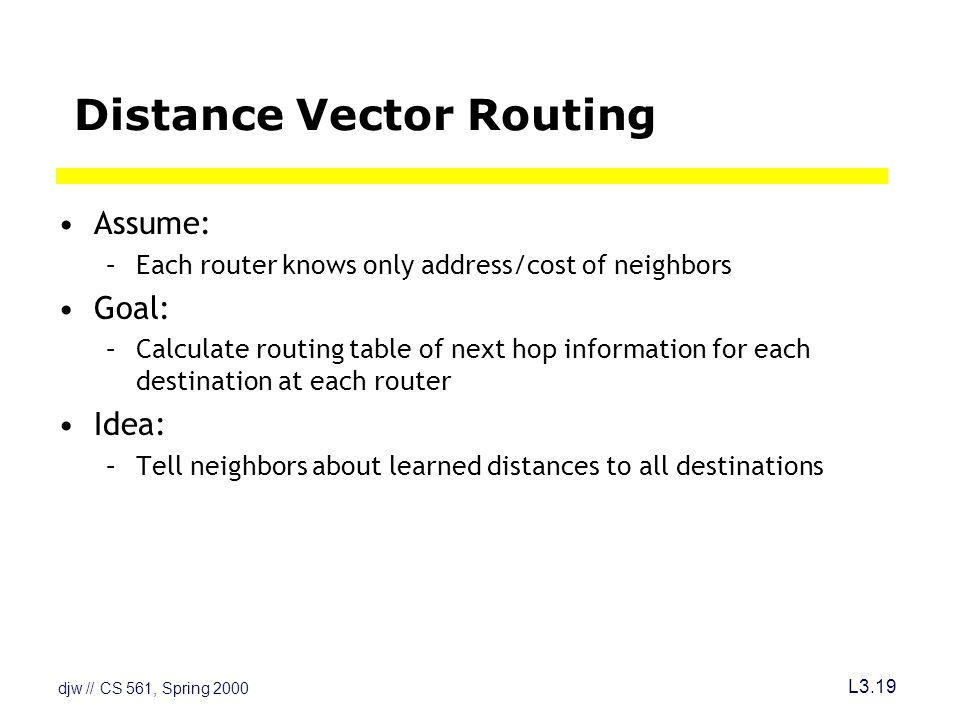 djw // CS 561, Spring 2000 L3.19 Distance Vector Routing Assume: –Each router knows only address/cost of neighbors Goal: –Calculate routing table of next hop information for each destination at each router Idea: –Tell neighbors about learned distances to all destinations