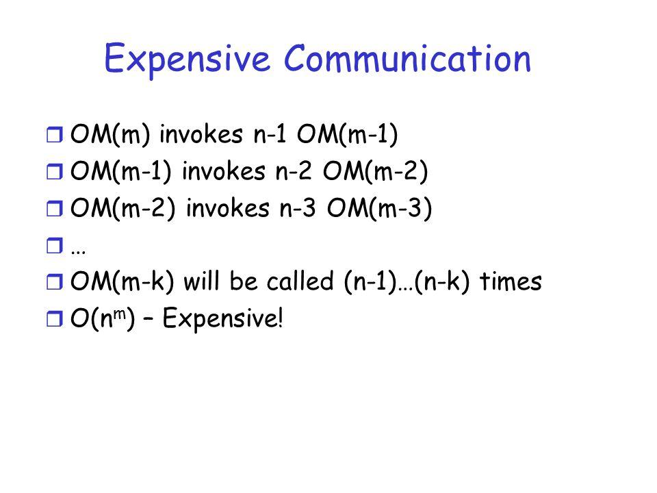 Expensive Communication r OM(m) invokes n-1 OM(m-1) r OM(m-1) invokes n-2 OM(m-2) r OM(m-2) invokes n-3 OM(m-3) r … r OM(m-k) will be called (n-1)…(n-