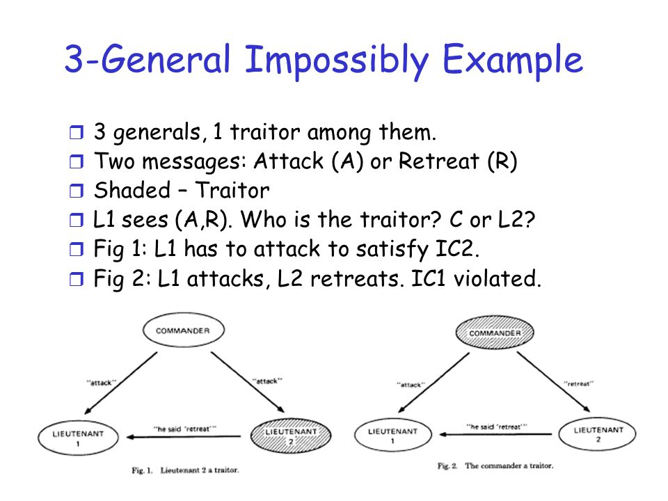 General Impossibility r In general, no solutions with fewer than 3m+1 generals can cope with m traitors.